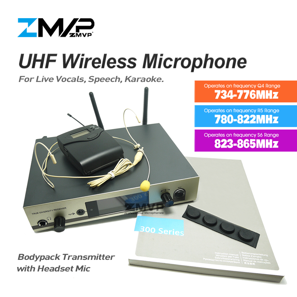 ZMVP Professional 322 G3 UHF Wireless Microphone Karaoke Speech Cordless System with Bodypack Transmitter Headset Mirophone Mic free shipping uhf professional sx 14 wireless microphone system with bodypack headset microphone band j3 572 596mhz
