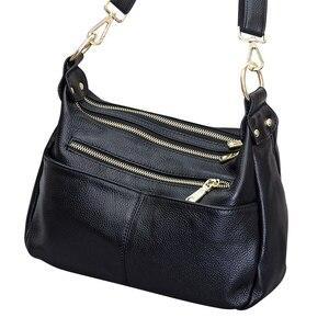 Image 5 - Femmes sac à bandoulière 100% en cuir véritable sac à main noir Hobos mode dame Messenger sac à main bandoulière grande capacité