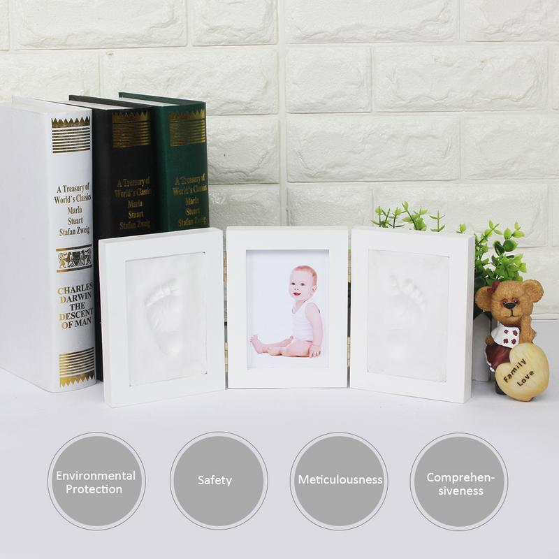 Cute Tri-fold Hand And Foot Print Photo Frame DIY Handprint Soft Clay Baby Footprint Exquisite Print Keepsake Ornament Cast Gift