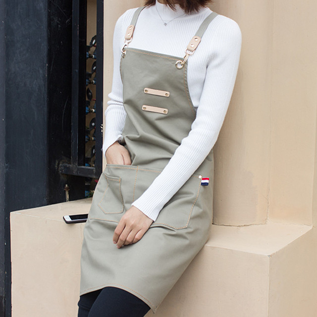 f1e9e1b9cd4 Khaki Gray Long Cotton Apron Barista Bartender Baker Waitstaff Chef  Hospitality Uniform Florist Painter Artist Work