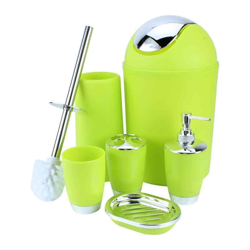 6 sztuk zestaw akcesoriów łazienkowych pojemnik na mydelniczka dozownik na szczoteczkę do zębów zielony szczotka do wc kosze na śmieci akcesoria łazienkowe