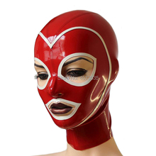 sexy exotic  lingerie women female men male unisex handmade red latex spliced white trim open hoods mask hood cekc uniform zenta