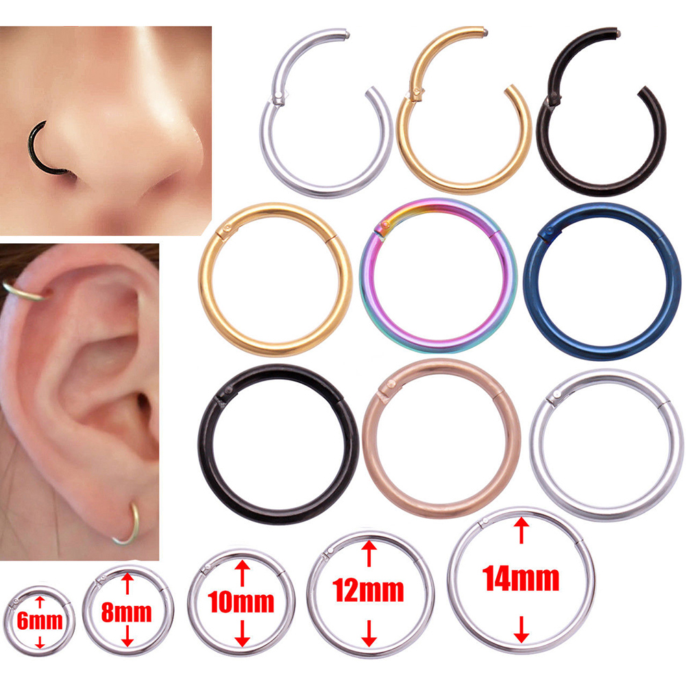 1PC Titanium Hinged Segment Nose Ring Studs Nipple Clicker Ear Cartilage Tragus Helix Lip Piercing Unisex Fashion Body Jewelry in Body Jewelry from Jewelry Accessories