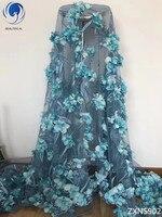 BEAUTIFICAL 2018 нигерийские кружевные ткани 3d синяя кружевная ткань 3d цветок африканская кружевная ткань 2018 высокое качество кружева 3d 5 ярдов ZXN59