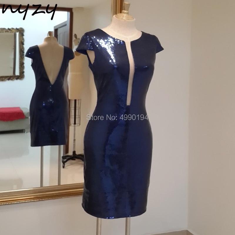 NYZY C39 Short Mini Sexy   Cocktail     Dresses   Navy Blue Bling Sequin Gown Low Back Open Bust Tea Party   Dress   vestido de cocktel 2019