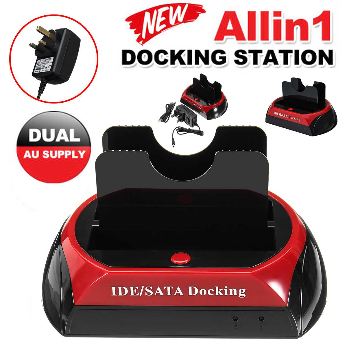 All In One Dual Bay 2.5 Inch 3.5 Inch HDD Docking Station USB 2.0 To IDE SATA Hard Disk Cloning Dock With Card Reader