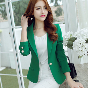 Image 1 - Fashion Women Blazers Green Yellow Long Sleeve Jackets Solid Single Button Coat Slim Office Lady Jacket Tops Blazer Feminino