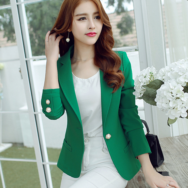 Fashion Women Blazers Green Yellow Long Sleeve Jackets Solid Single Button Coat Slim Office Lady Jacket Tops Blazer Feminino