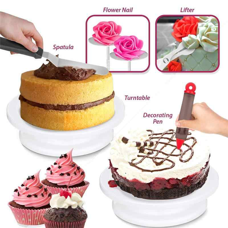 164 Pcs DIY Multi-função Kit de Decoração Do Bolo Conjunto Bolo Turntable Tubo Pastelaria Fondant Ferramenta Bolo Cozinha Ferramentas de Sobremesa