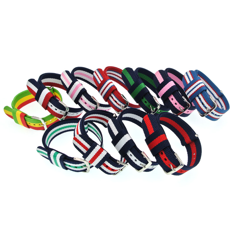 10PCS(Lot) 20mm Nylon Watchbands Woven Sport Watch Straps Nato Band Buckle Correa Horloge Bandjes Pulseira Cinturino WB001