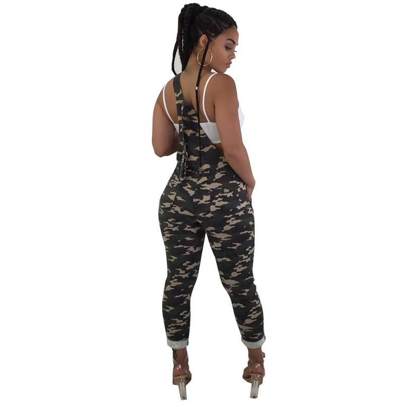b00ac71ccd4f4 Plus Size Rompers Women Jumpsuit Oversize Overalls Camouflage Sleeveless  Pockets Wide Leg Pants Casual Dungarees Playsuit-in Jumpsuits from Women s  Clothing ...