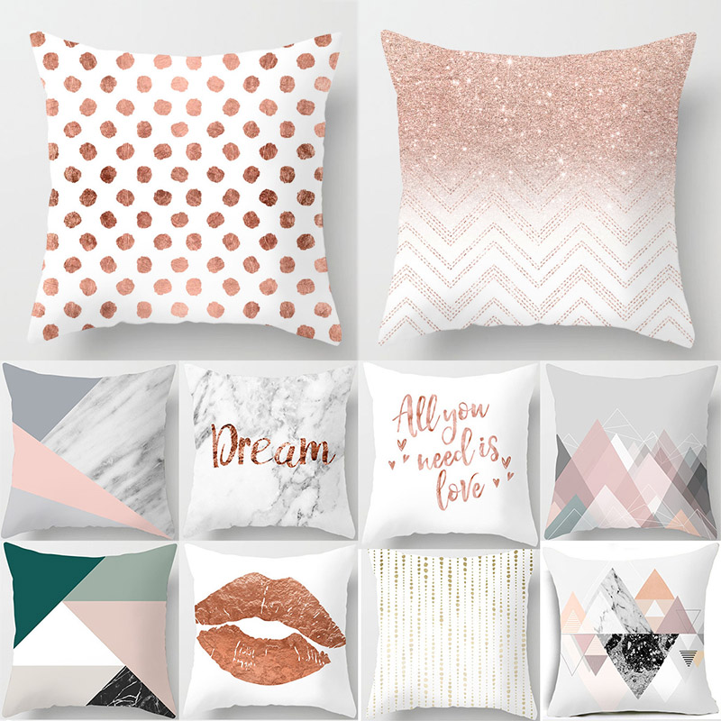 Polyester Geometric Home Throw Cushion Pillow Gift Cover Cases Printed Pink