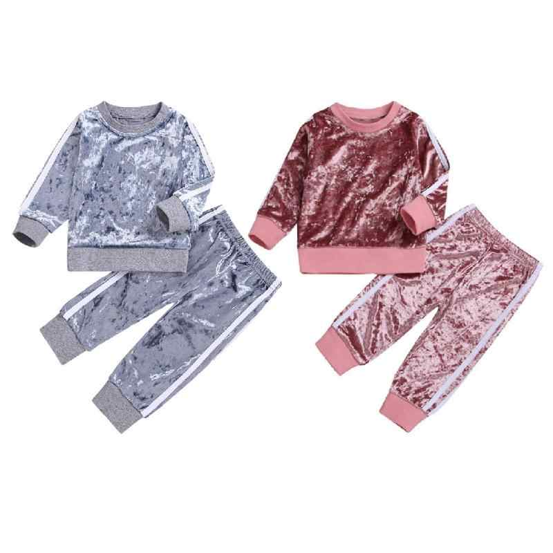 Fashion Spring Autumn Baby Boy Girl Clothes Long Sleeve Sweatshirt + Pants 2 Pcs/Set Sport Casual Suit Toddler Girl Clothes Set