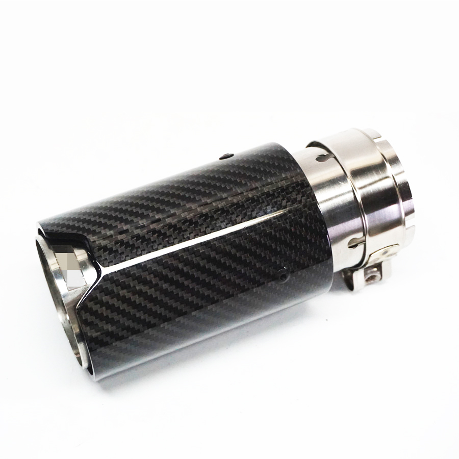 Universal IN 63mm OUT 81mm Glossy Black 100 Real Carbon Fiber Car Exhaust End Tips for BMW in Exhaust Headers from Automobiles Motorcycles