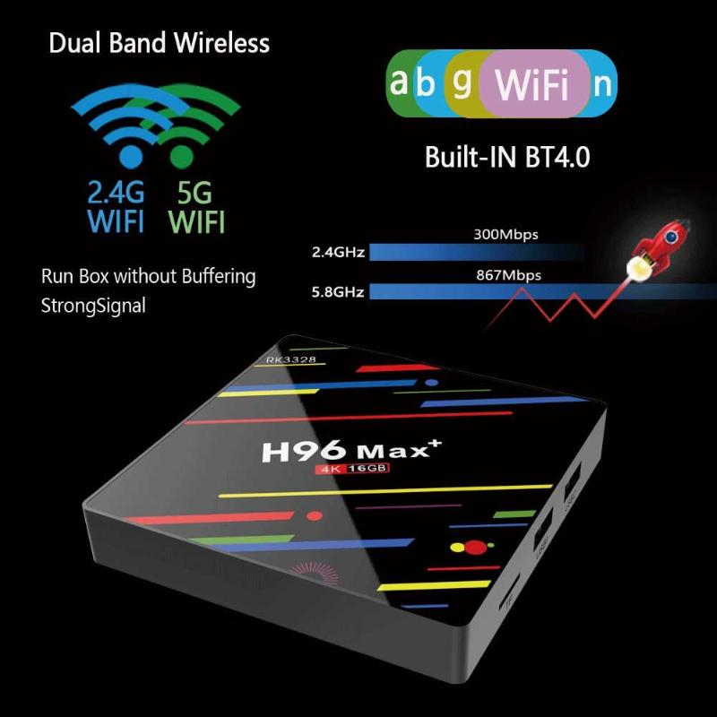 H96 MAX + Android 9.0 Set Top Box boîtier de smart tv 2 GB + 16 GB RK3328 Quad Core 2.4G/ 5G WiFi 4 K Set Top Box lecteur multimédia livraison directe