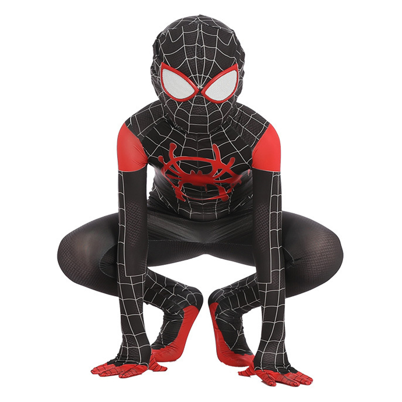 children red Black Miles Morales Spiderman 3d Print Adult Kids Boys Spider Man Cosplay Costume Superhero Zentai Spiderman Suit