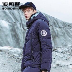 Image 3 - Bosideng 남성 후드 롱 다운 재킷 겨울 오버 무릎 패션 캐주얼 고품질 다운 코트 방수 파카 b80142015