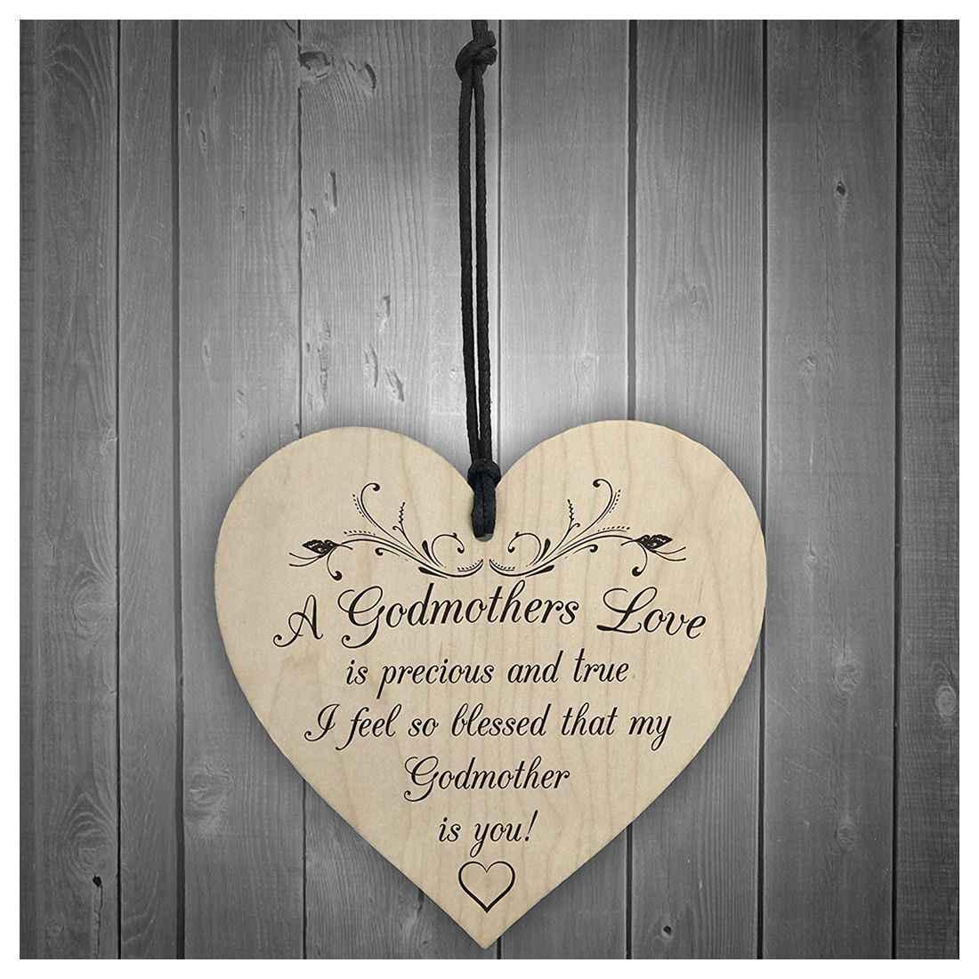 f8933db60e ... Bendecido con madrinas amor colgante de madera corazón placa señal de  día de las madres regalo