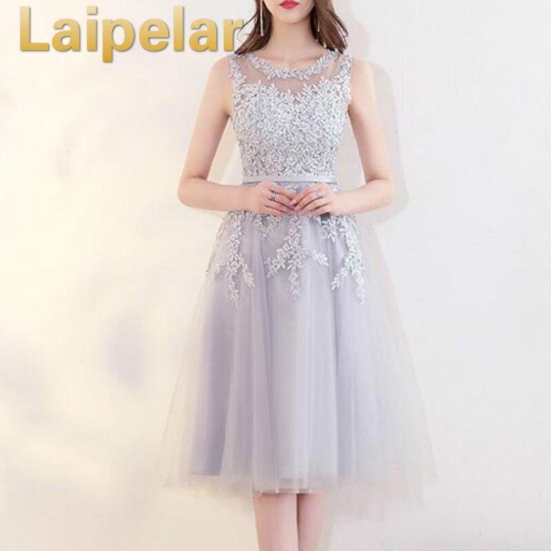 Laipelar 2019 패션 tulle 레이스 이브닝 미디 드레스 우아한 공식적인 가운 웨딩 저녁 파티 드레스 여성 vestido de festa-에서드레스부터 여성 의류 의  그룹 3