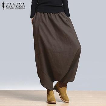 ZANZEA mujeres cintura elástica gota entrepierna Harem Pantalones Casual sólido suelto Pantalones mujer Hip Hop pantalones holgado largo Pantalon Plus