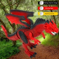 Funny Gift for Kids Glowing Eyes Head Wings Moves Electric RC Dragon Walking Dinosaur Kids Toy With Light & Sound & Shaking Head