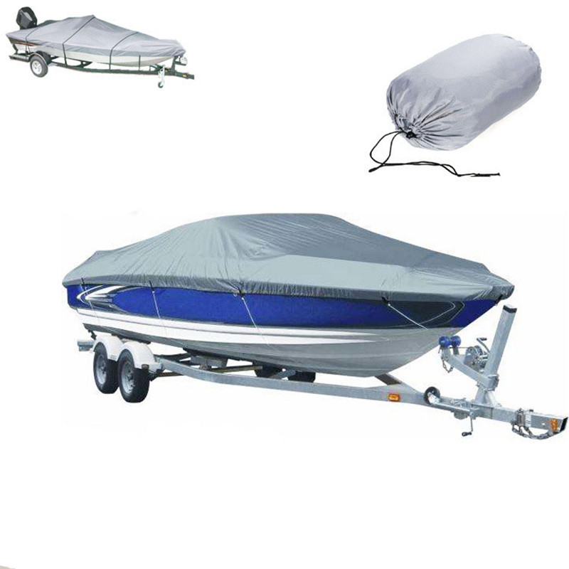 300D Speedboat Boat Cover Oxford Cloth Waterproof UV Dust-proof Cover Trailerable Fishing Ski Racing Boats For 11-22ft Speedboat