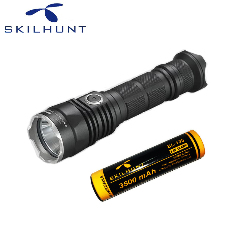 New SKILHUNT S2 PRO CREE XP-L HD or HI LED USB rechargeable tactical <font><b>1250</b></font> Lumens / 1100 Lumens flashlight with <font><b>battery</b></font> image