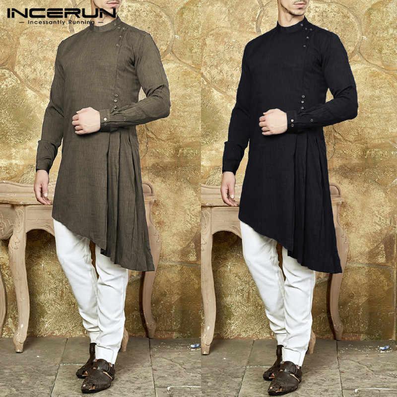 INCERUN Stylish Mens Kurta Suit Indian dress Long Sleeve Shirts Muslim Men  Clothing Solid Asymmetric Hem c776c47dc
