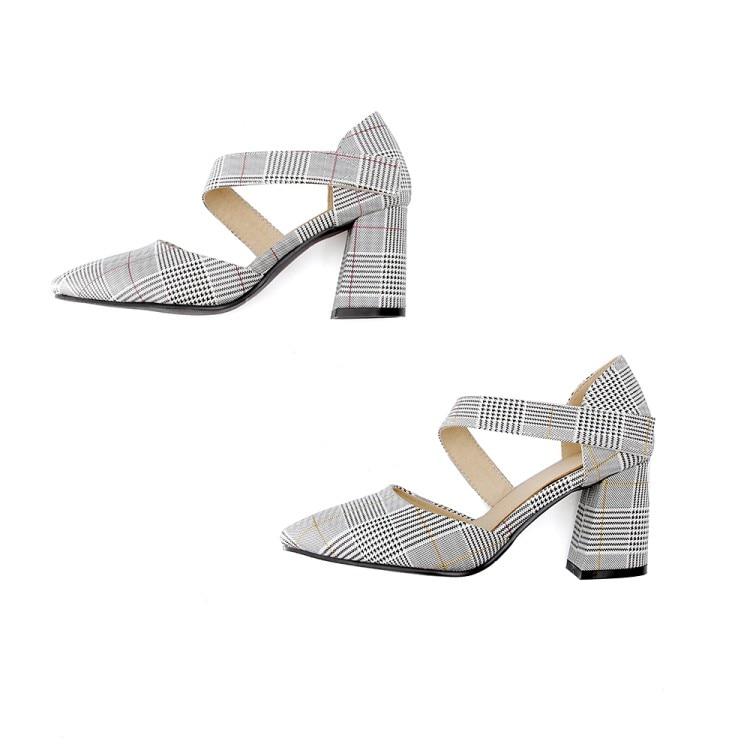 Xianyiduo/Новинка 2019 года; модные летние вечерние женские туфли; босоножки с закрытым острым носком на квадратном каблуке; пикантные туфли на за... - 5