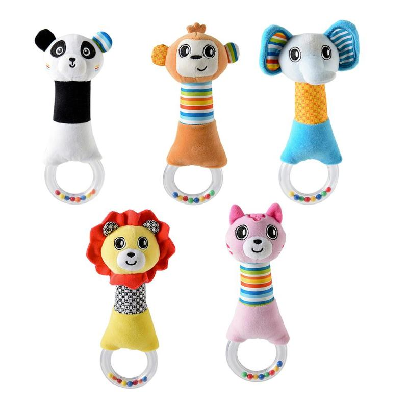 Baby Ring Bell Newborn Hand Shake Rattles Grasp Toys Soft Infant Crib Dolls Soft Plush Rattle Ring Bell Mobile Infant Crib Dolls