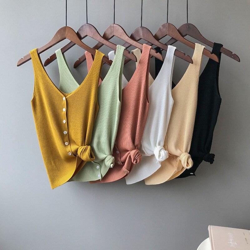 Mooirue 2019 Summer Spring Harajuku Knit   Tank     Top   Cami Korean Camisole Elastic Vest O Neck Solid Color New Loose   Tops
