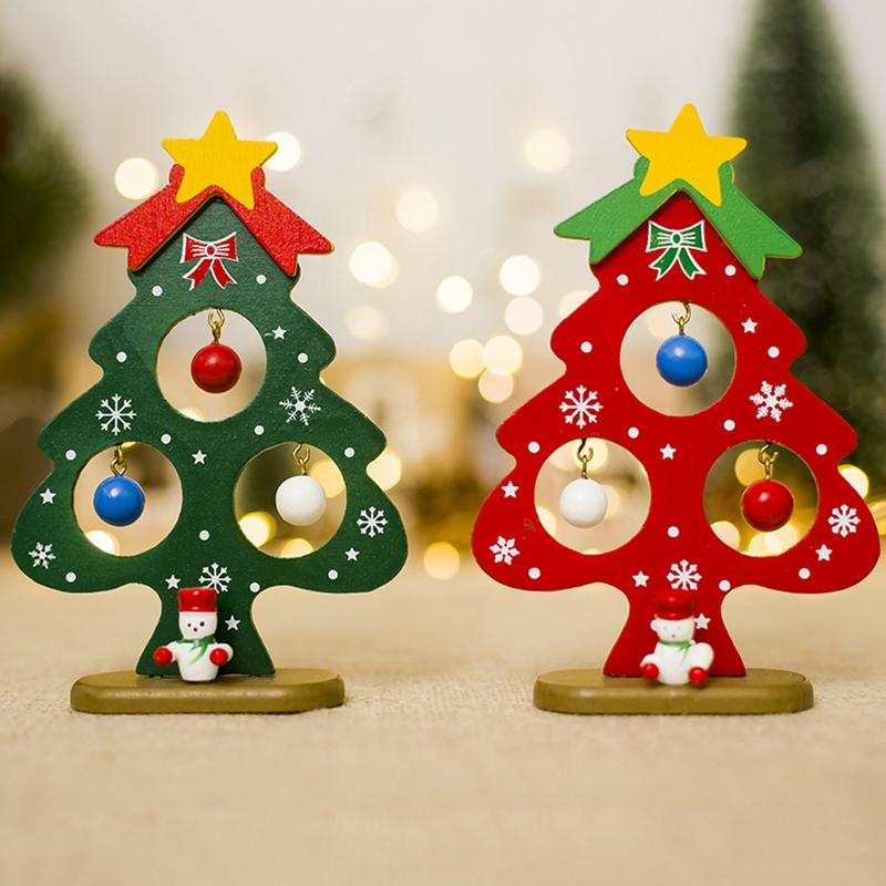 Christmas Small Tree Ornaments Mini Painted Wooden Card Pendant