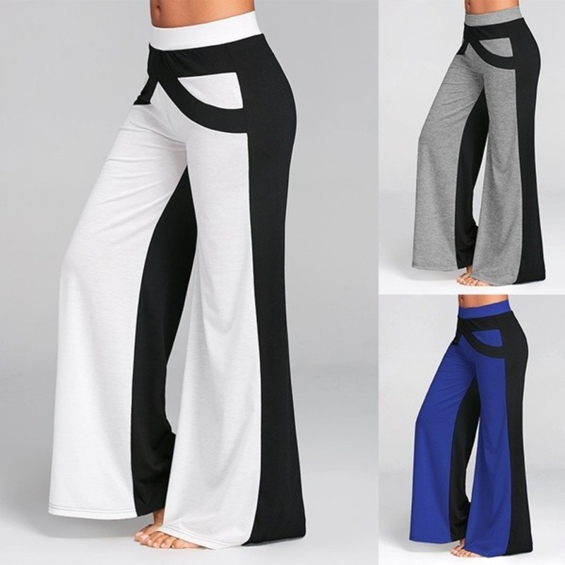 Womens Sexy Fashion Casual High Waist Wide Leg Long Pants Palazzo Trousers Splice Pants 3 Colors