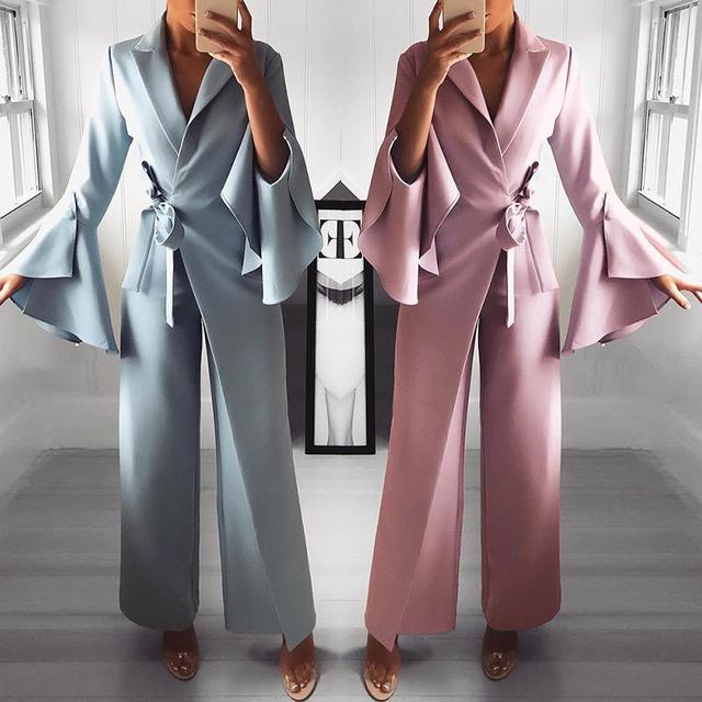 b350660c54f5 2019 Spring Irregular Flare Sleeve Long Jumpsuits Office Lady Knot Side  Sashes Wide Leg Jumpsuit Turn Down Collar Casual Rompers