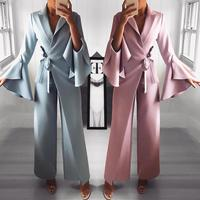 2019 Spring Irregular Flared Sleeve Long Jumpsuits 3 Colors Knot Side Wide Leg Jumpsuit