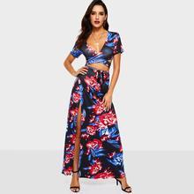 bd75350d0 Estampado Floral de las mujeres establece V profunda Sexy camisetas Top de  encaje Maxi falda Split