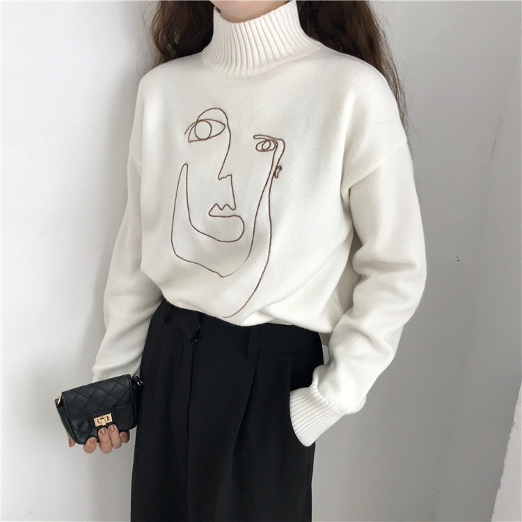 Geometric Face Winter Turtleneck Women Pullover Sweater Long Sleeve Loose Female Knitting Jumper Sweater Slim Ladies