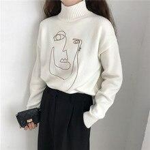Геометрическая лица зима водолазка Для женщин пуловер свитер с длинным рукавом Свободные женские Вязание джемпер, свитер Тонкий дамы свитер