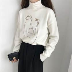 Геометрическая лица зима водолазка Для женщин пуловер свитер с длинным рукавом Свободные женские Вязание джемпер, свитер Тонкий дамы