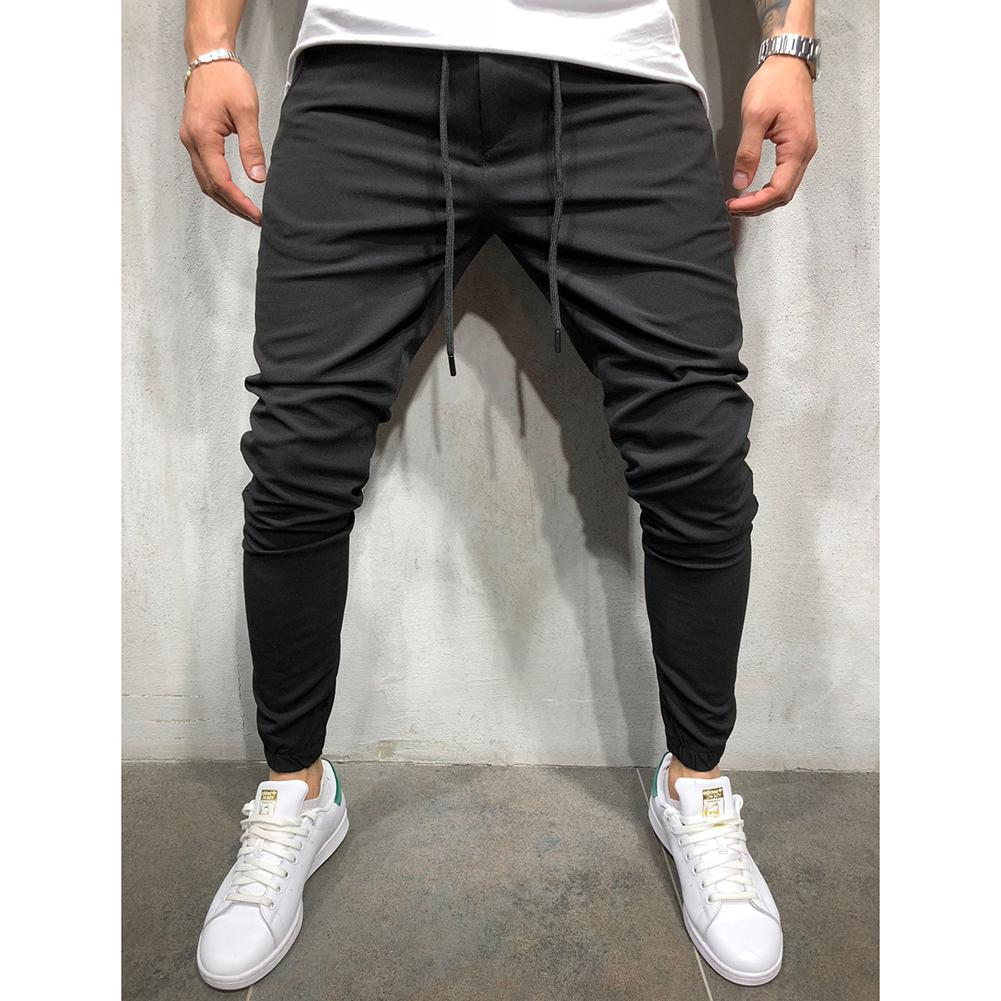 MISSKY Men Pants Solid Color Casual Sport Pants Middle Waist Solid Color Slim Fit Trousers Running Joggers Gym Sweatpants
