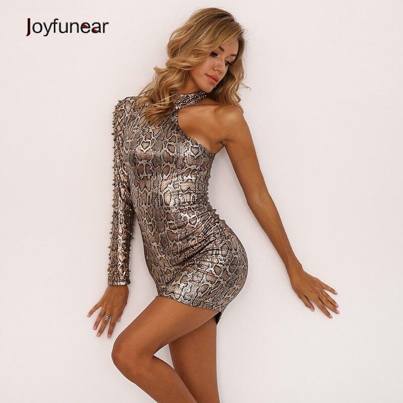 Joyfunear Snake Print One Shoulder Dress 4DAK304