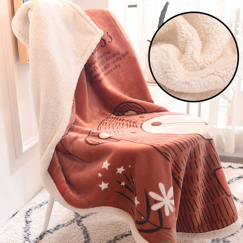 Cartoon Animal Coral Plush Throw Blanket Floral Printed For Kids Girls Sherpa Blanket For Couch Black Thin Quilt 120x150cm
