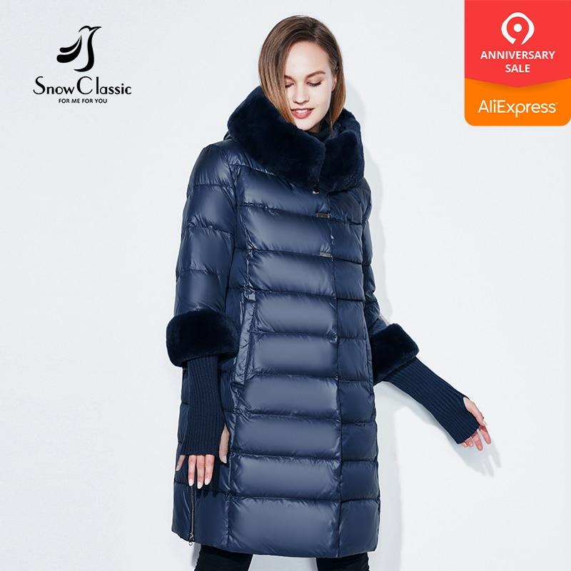 Snowclassic 2018 jacket women camperas mujer abrigo invierno coat women park plus size 5XL Fur collar hat cuffs thick Europe