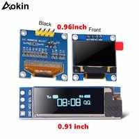 Módulo OLED de 0,91 pulgadas, Módulo De Pantalla LED LCD OLED para Raspberry pi 0,96 I2C IIC Serial, color blanco y azul, 128X64