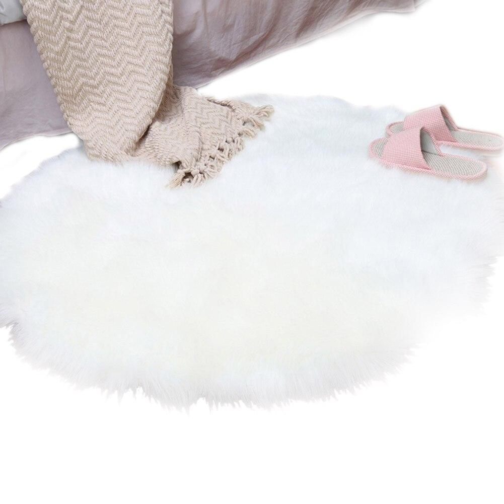 Faux Sheepskin Wool Carpet 30 X 30 Cm Fluffy Soft Longhair Decorative Carpet Cushion Chair Sofa Mat Round White