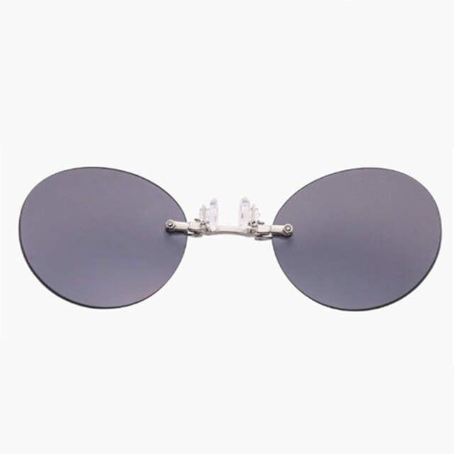 6a30409b508e Mini Rimless Sunglasses Clip On Nose Lens Round Glasses Fashion Matrix  Morpheus Frameless Vintage Men Eyeglasses UV400-in Sunglasses from Apparel  ...