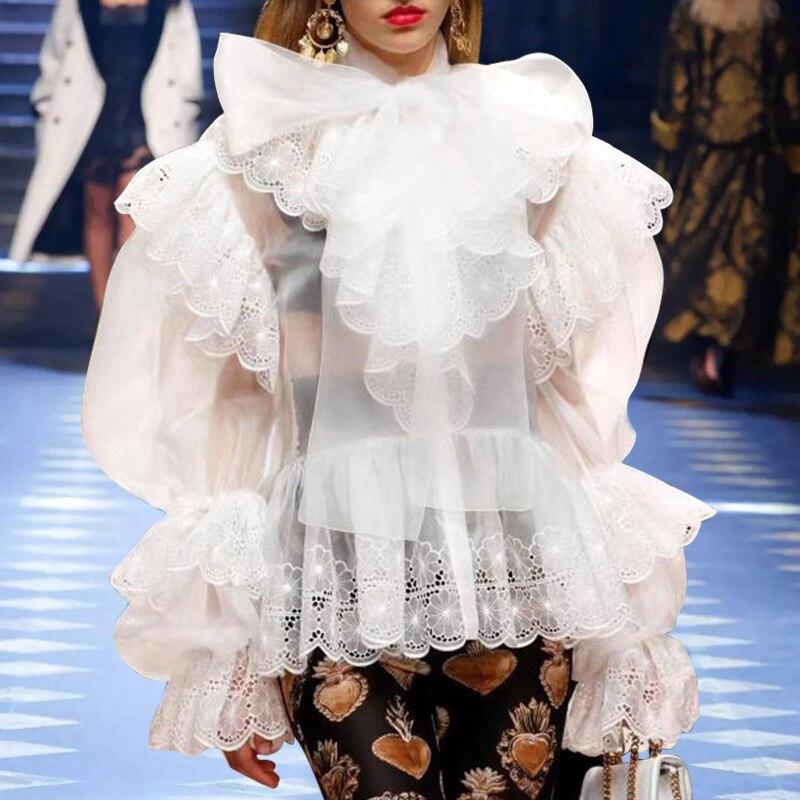 2019 printemps Designer piste hauts femmes élégant arc col haut rue volants blanc/noir dentelle Blouse chemise