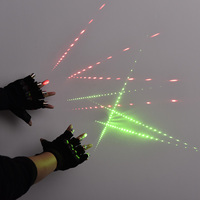 1Pcs Red Green Laser Gloves Dancing Stage Show Stage Gloves Light With 4 pcs Lasers and LED Palm Light For DJ Club/Party/Bars 2