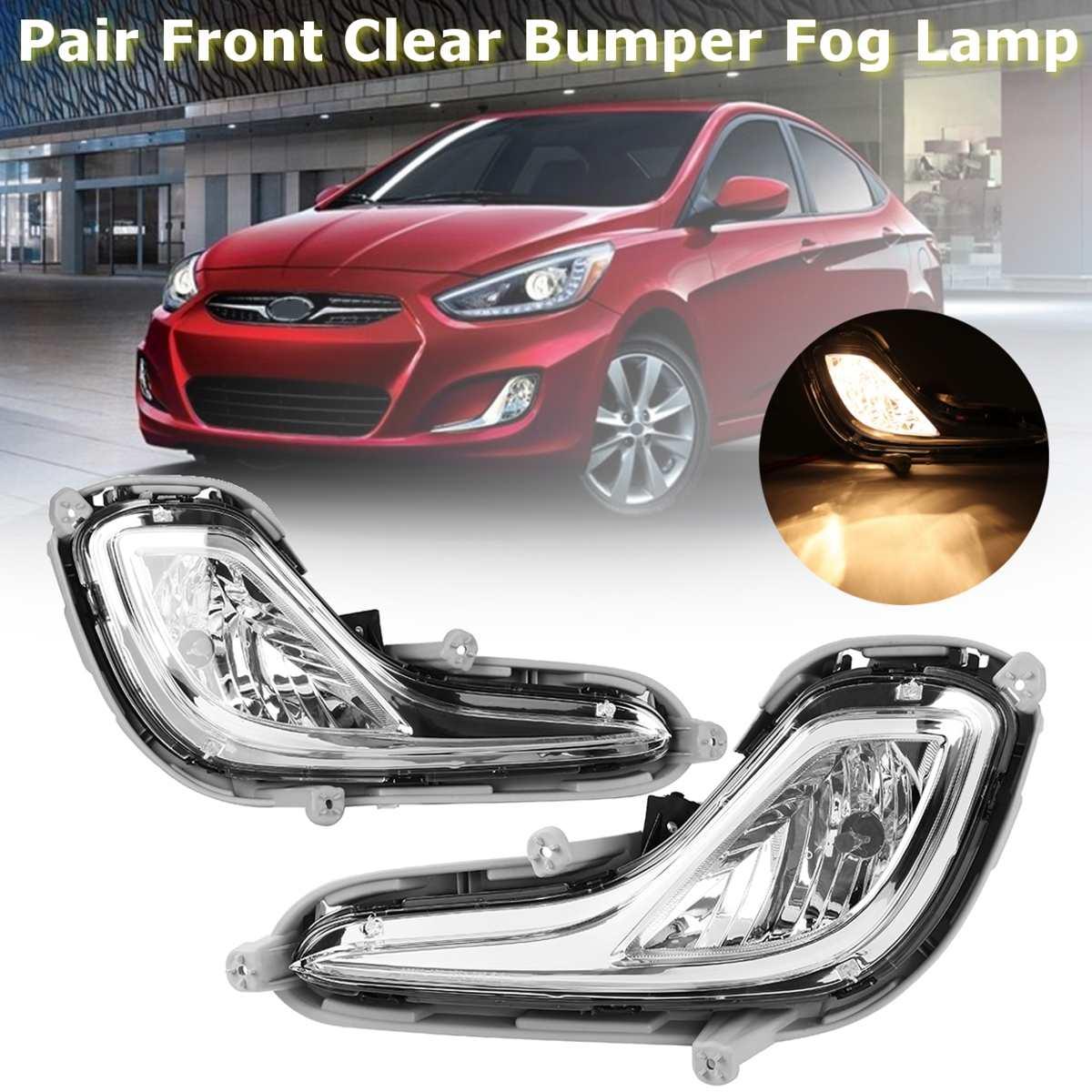 Pour Hyundai Accent 2012 2013 2014 paire avant clair pare-chocs feux antibrouillard feux de jour avec ampoules