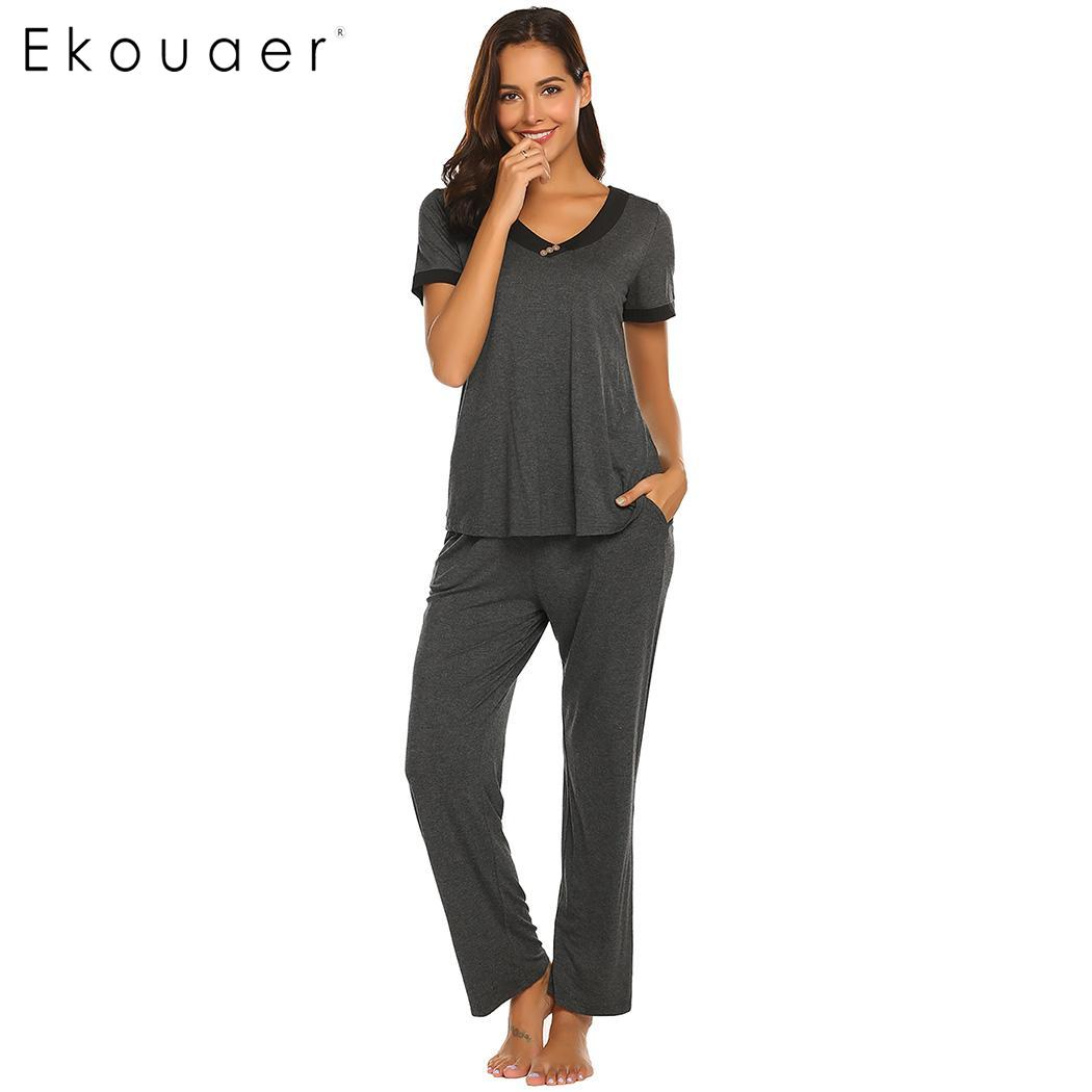 Ekouaer Women Sleepwear   Pajama     Sets   Nightwear Patchwork Short Sleeve V-Neck   Pajamas   Suits Female Nightwear Homewear Clothes